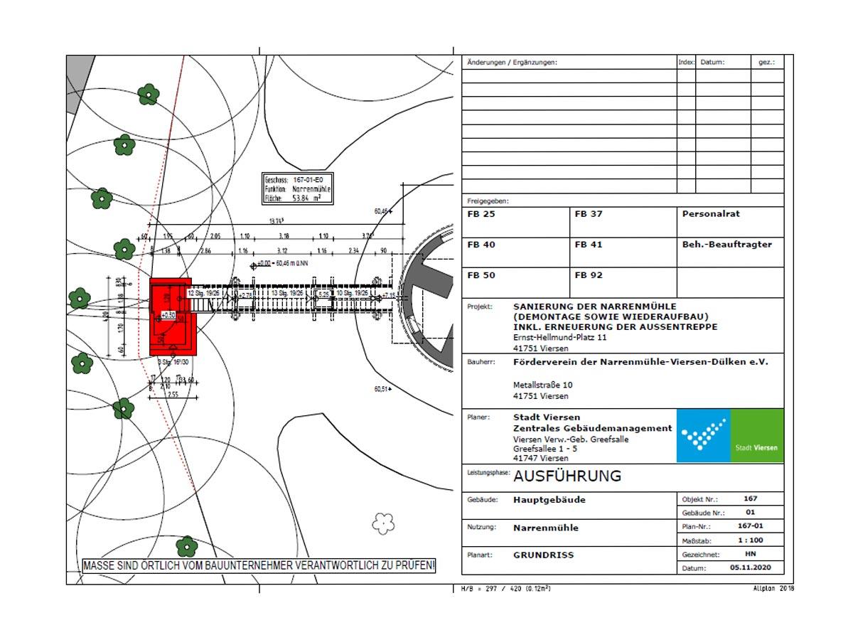 Neue Treppe der Narrenmühle - Lageplan